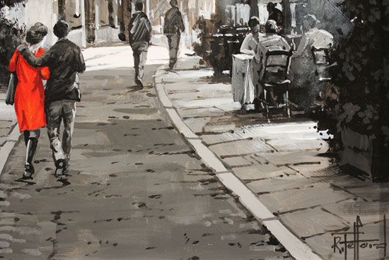 Richard Telford, Original oil painting on panel, Cafés and Cobbled Streets Signature image. Click to enlarge