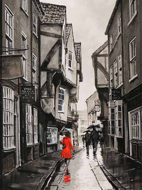 Richard Telford, Original oil painting on panel, The Shambles, York Without frame image. Click to enlarge