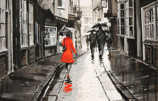 Richard Telford, Original oil painting on panel, The Shambles, York Signature image. Click to enlarge