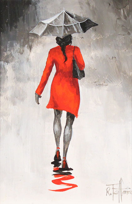 Richard Telford, Original oil painting on panel, The Red Coat Without frame image. Click to enlarge
