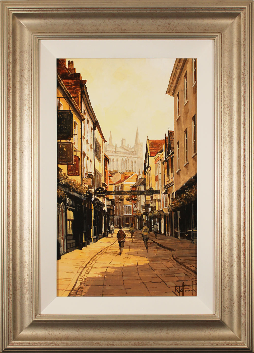 Richard Telford, Original oil painting on panel, Soft Light on Stonegate, York. Click to enlarge