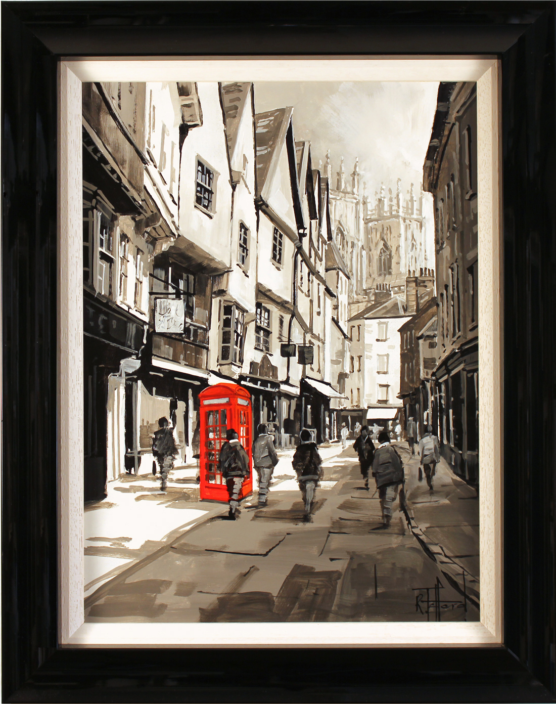 Richard Telford, Original oil painting on panel, Telephone Box on Low Petergate. Click to enlarge