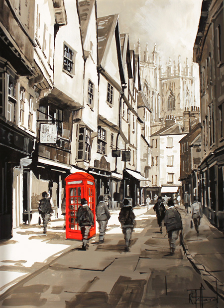 Richard Telford, Original oil painting on panel, Red Telephone Booth on Petergate