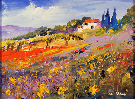 Roberto Luigi Valente, Original acrylic painting on board, Tuscan Landscape Without frame image. Click to enlarge