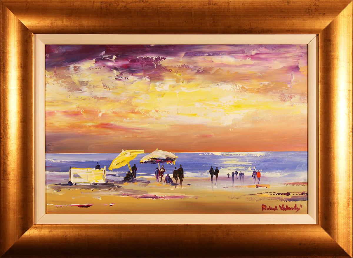 Roberto Luigi Valente, Original acrylic painting on board, Naples Beach, click to enlarge