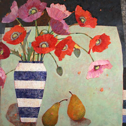 Sally Anne Fitter, Original acrylic painting on canvas, Evening Poppies