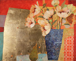 Sally Anne Fitter, Original acrylic painting on canvas, The Gold Table