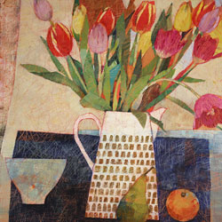 Sally Anne Fitter, Original acrylic painting on canvas, Orange and Spring Tulips Large image. Click to enlarge