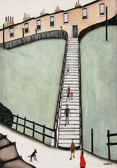 Sean Durkin, Original oil painting on panel, Thirty Eight Steps Without frame image. Click to enlarge