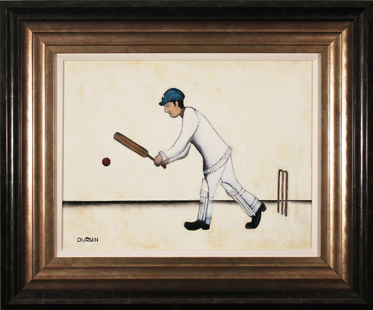 Sean Durkin, Original oil painting on panel, The Cricketer, click to enlarge