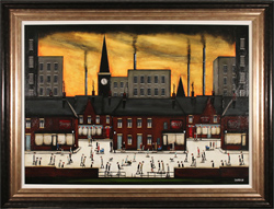 Sean Durkin, Original oil painting on panel, Sunset at the Factory