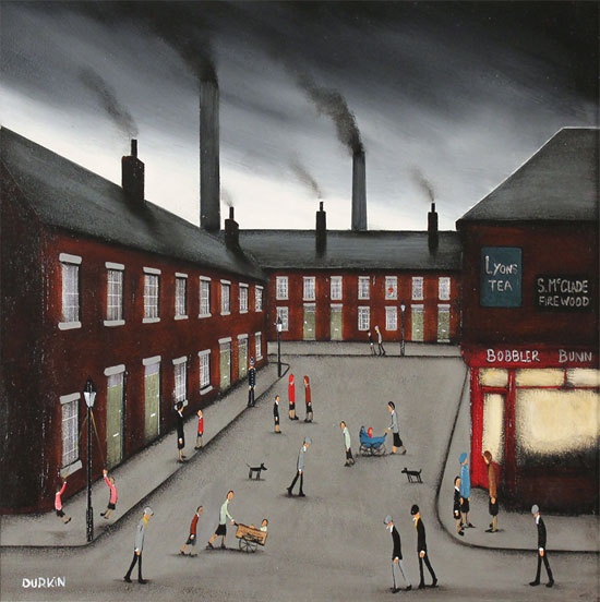 Sean Durkin, Original oil painting on panel, Smokestack Symphony Without frame image. Click to enlarge