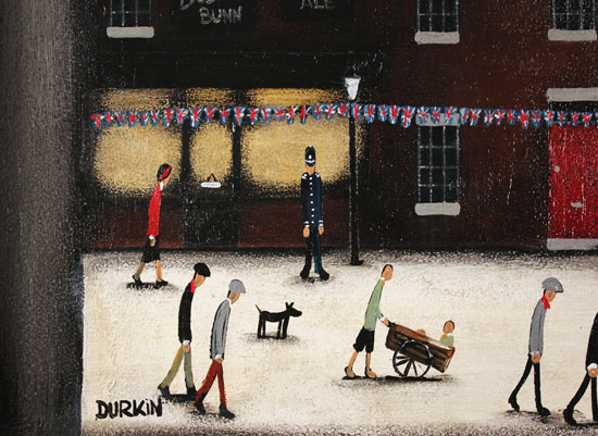 Sean Durkin, Original oil painting on panel, Mill Town Jubilee Signature image. Click to enlarge