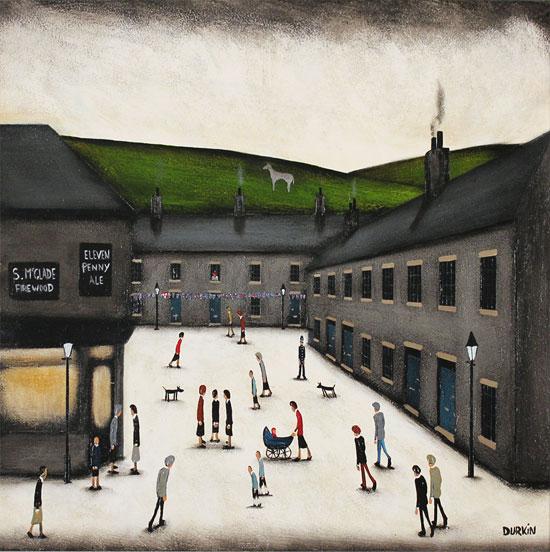 Sean Durkin, Original oil painting on panel, McGlade's Corner No frame image. Click to enlarge