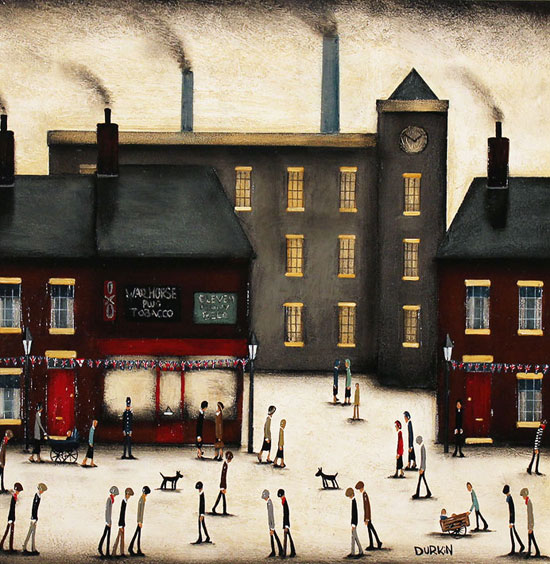 Sean Durkin, Original oil painting on panel, Factory Corner Without frame image. Click to enlarge