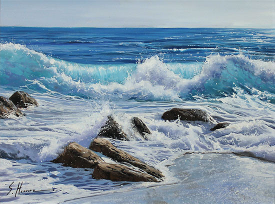 Sergio Herrero, Original oil painting on panel, Power of the Sea Without frame image. Click to enlarge