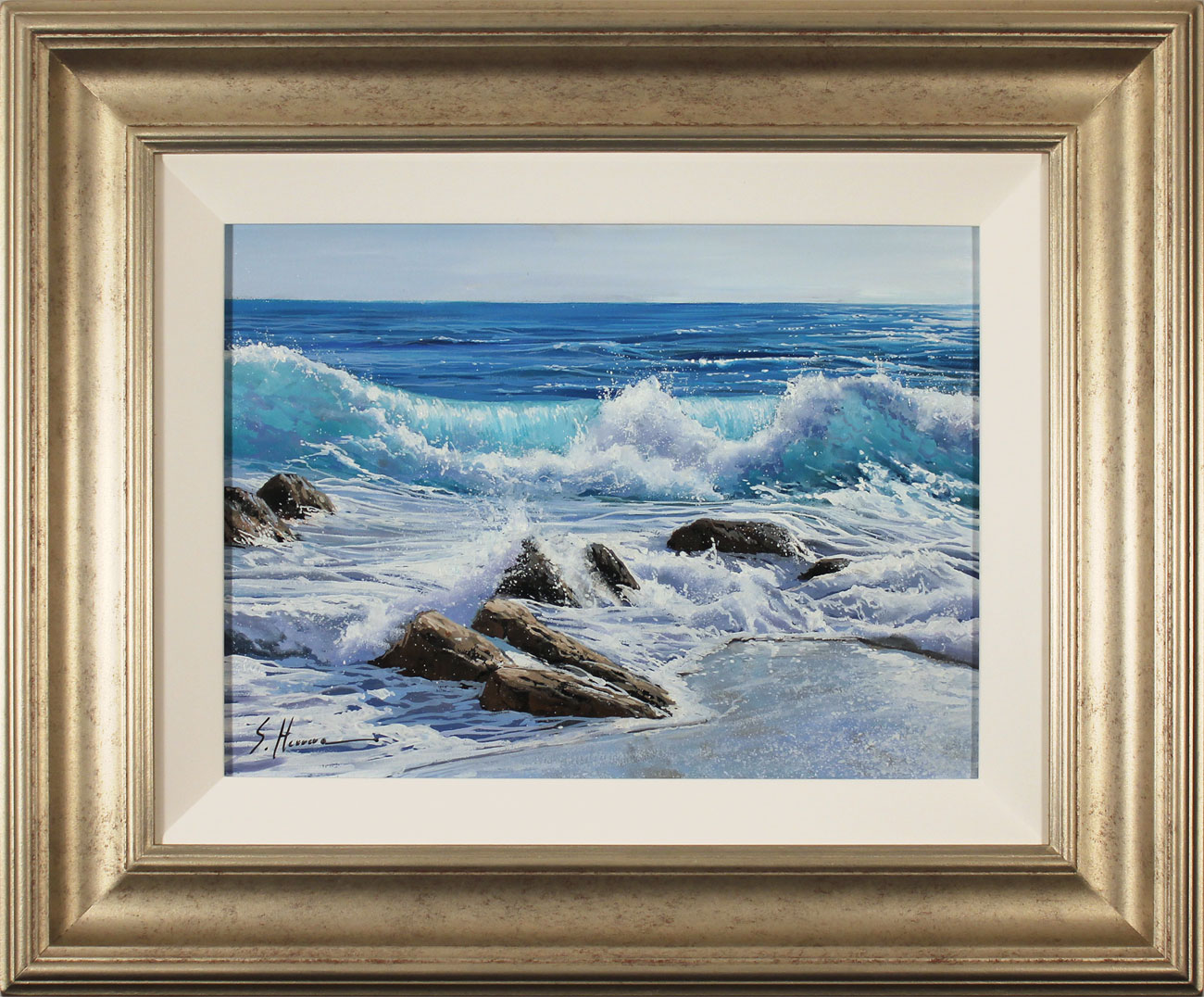 Sergio Herrero, Original oil painting on panel, Power of the Sea. Click to enlarge