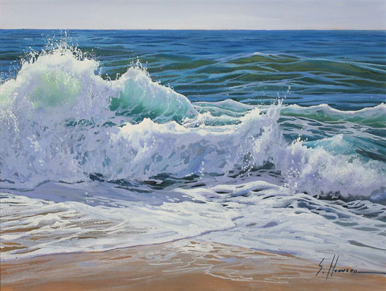 Sergio Herrero, Original oil painting on panel, Crashing Tides No frame image. Click to enlarge
