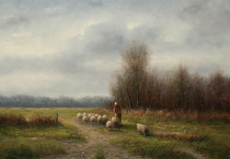 Simon Balyon, Original oil painting on panel, Going to the Meadow