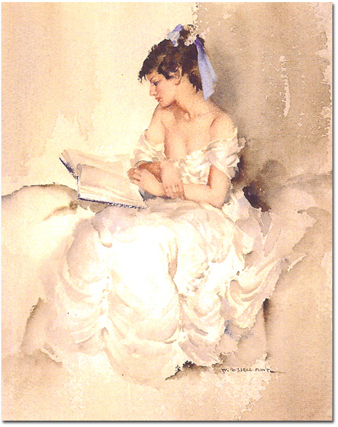 Sir William Russell Flint, Limited edition print, Girl Reading, click to enlarge