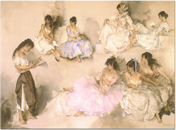 Sir William Russell Flint, Limited edition print, Variations VI. Click to enlarge