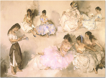 Sir William Russell Flint, Limited edition print, Variations VI Without frame image. Click to enlarge