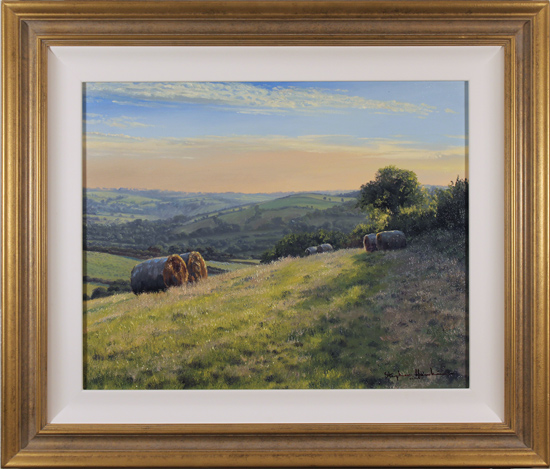 Stephen Hawkins, Original oil painting on canvas, Hay Bales, Yorkshire Wolds