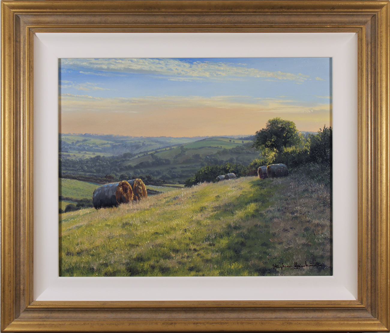 Stephen Hawkins, Original oil painting on canvas, Hay Bales, Yorkshire Wolds, click to enlarge