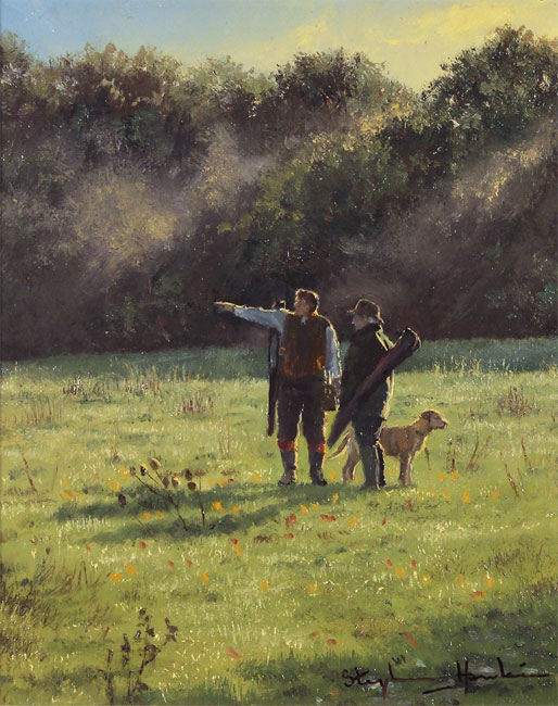 Stephen Hawkins, Original oil painting on panel, The Gamekeepers Without frame image. Click to enlarge