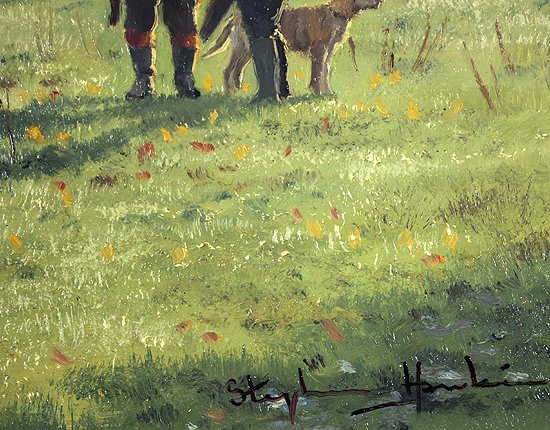 Stephen Hawkins, Original oil painting on panel, The Gamekeepers Signature image. Click to enlarge