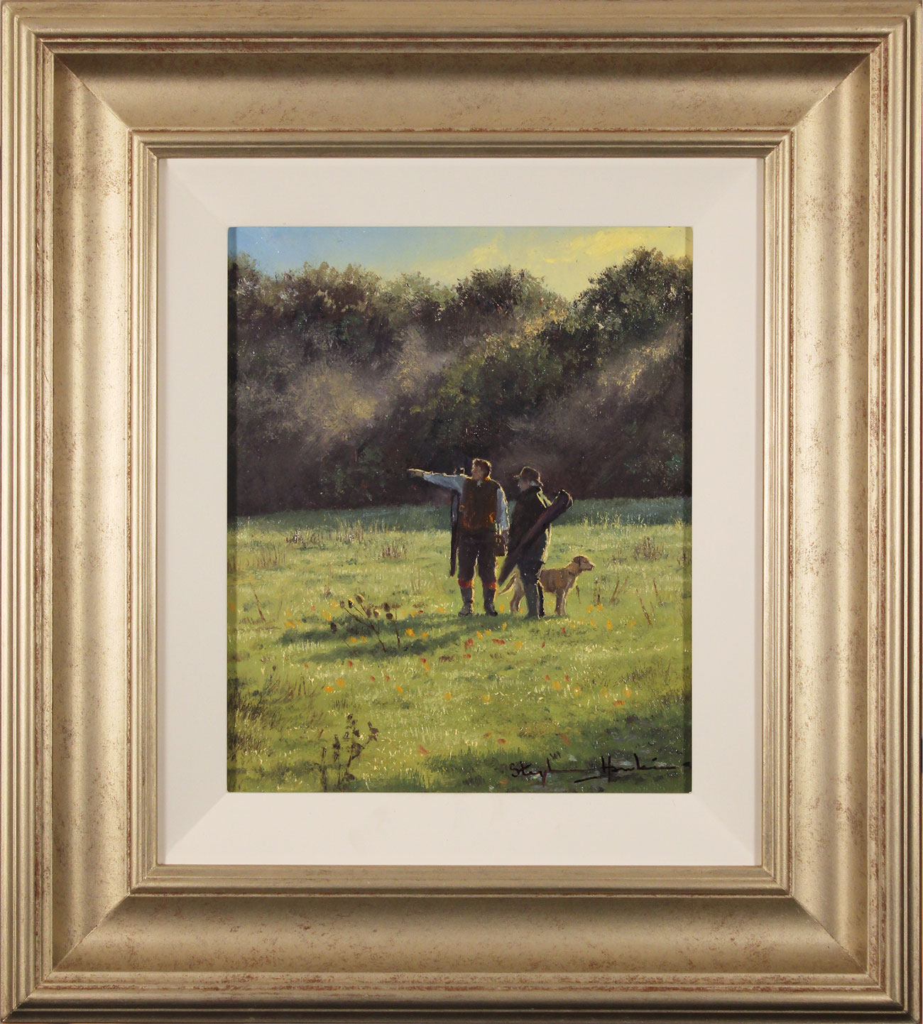 Stephen Hawkins, Original oil painting on panel, The Gamekeepers. Click to enlarge