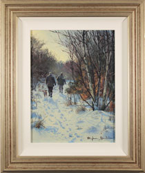 Stephen Hawkins, Original oil painting on panel, Woodland Snow