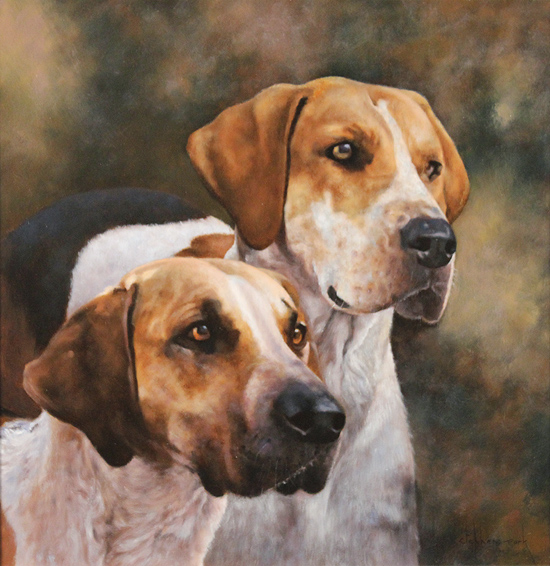 Stephen Park, Original oil painting on panel, Hounds
