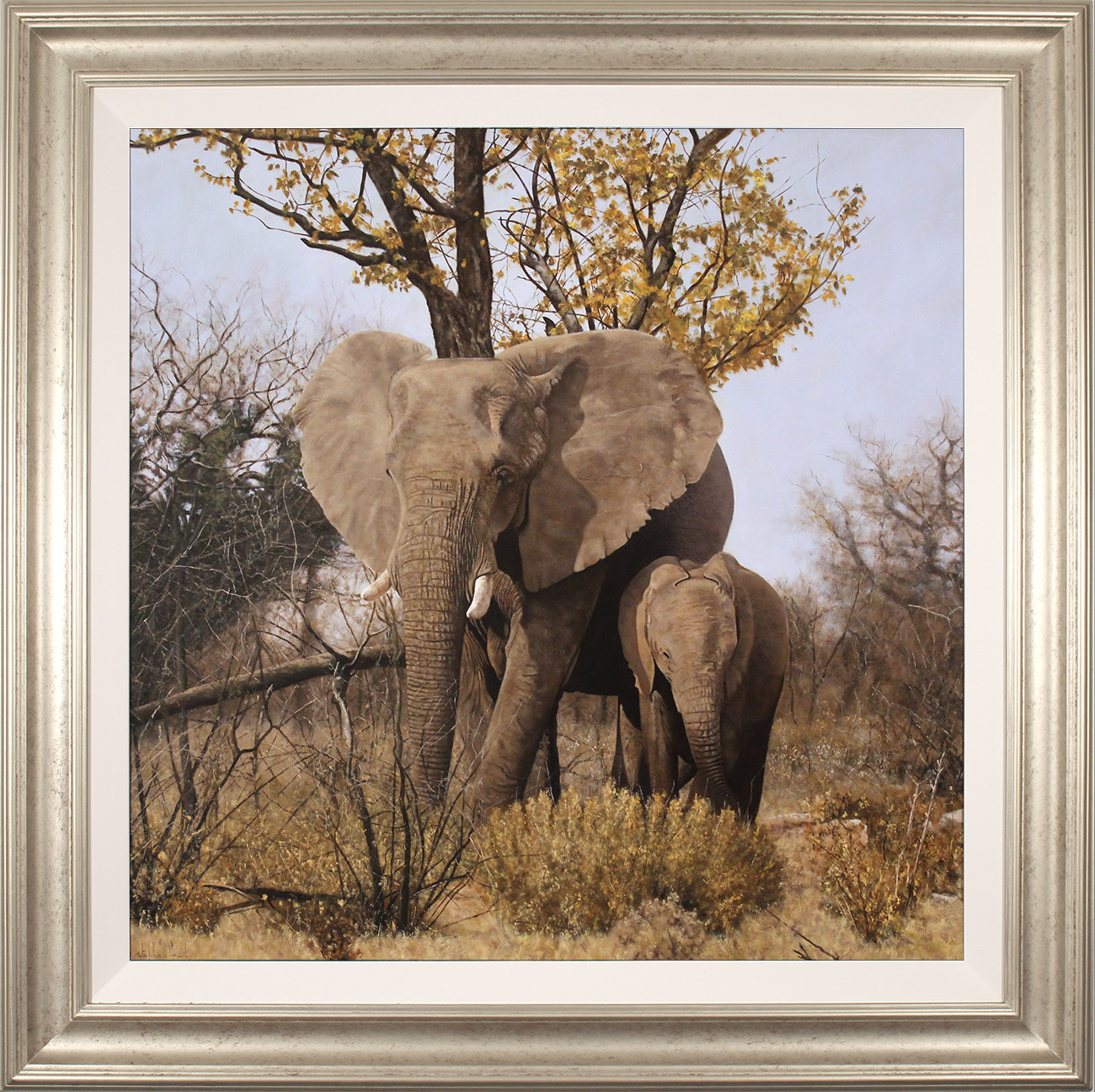 Stephen Park, Original oil painting on panel, Elephant Mother and Calf, click to enlarge
