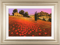 Steve Thoms, Original oil painting on panel, Scarlet Fields of Tuscany