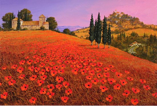 Steve Thoms, Original oil painting on panel, Fields of Tuscany Without frame image. Click to enlarge