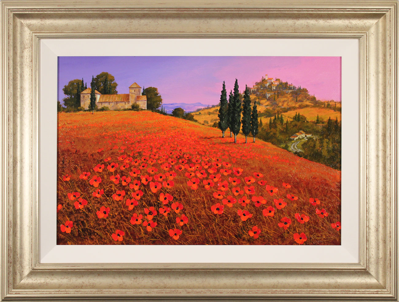 Steve Thoms, Original oil painting on panel, Fields of Tuscany. Click to enlarge