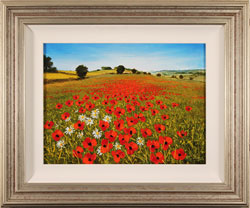 Steve Thoms, Original oil painting on panel, Poppies in the Yorkshire Wolds