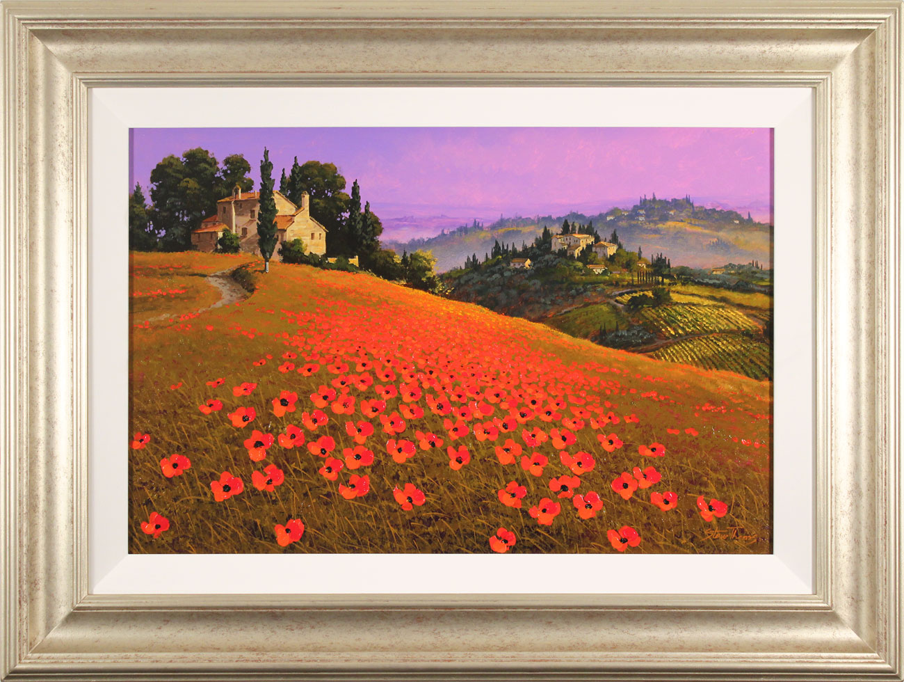 Steve Thoms, Original oil painting on panel, Tuscan Sunset, click to enlarge