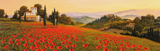 Steve Thoms, Original oil painting on panel, Rolling Hills of Tuscany No frame image. Click to enlarge