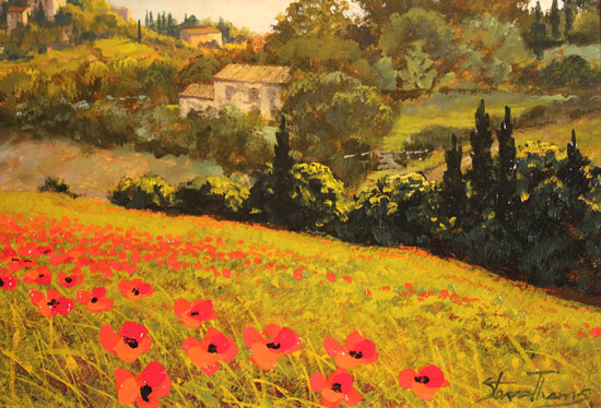 Steve Thoms, Original oil painting on panel, Rolling Hills of Tuscany Signature image. Click to enlarge