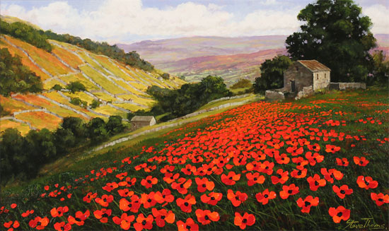 Steve Thoms, Original oil painting on panel, Poppy Field, Yorkshire Dales No frame image. Click to enlarge