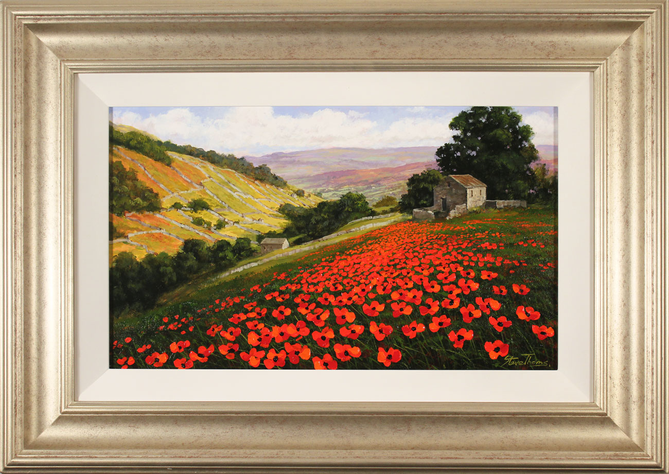 Steve Thoms, Original oil painting on panel, Poppy Field, Yorkshire Dales, click to enlarge