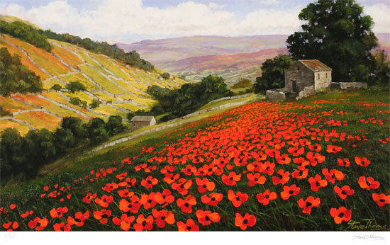 Steve Thoms, Signed limited edition print, Poppy Field, Yorkshire Dales Without frame image. Click to enlarge