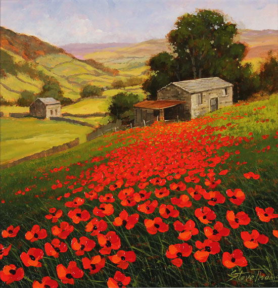 Steve Thoms, Original oil painting on panel, Yorkshire Poppies Without frame image. Click to enlarge