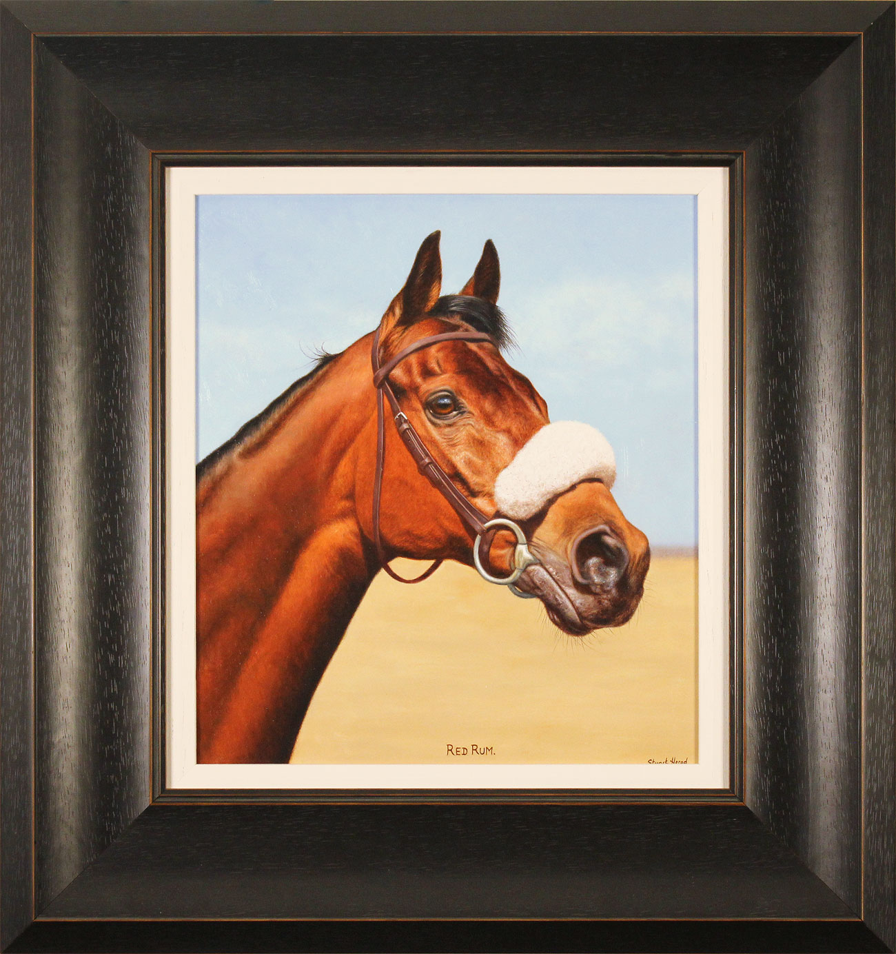 Stuart Herod, Original oil painting on panel, Red Rum, click to enlarge