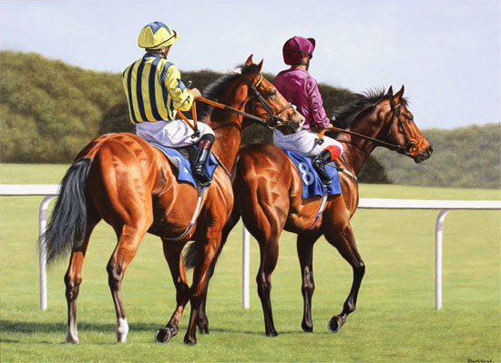 Stuart Herod, Original oil painting on canvas, Off to the Starting Gate Without frame image. Click to enlarge