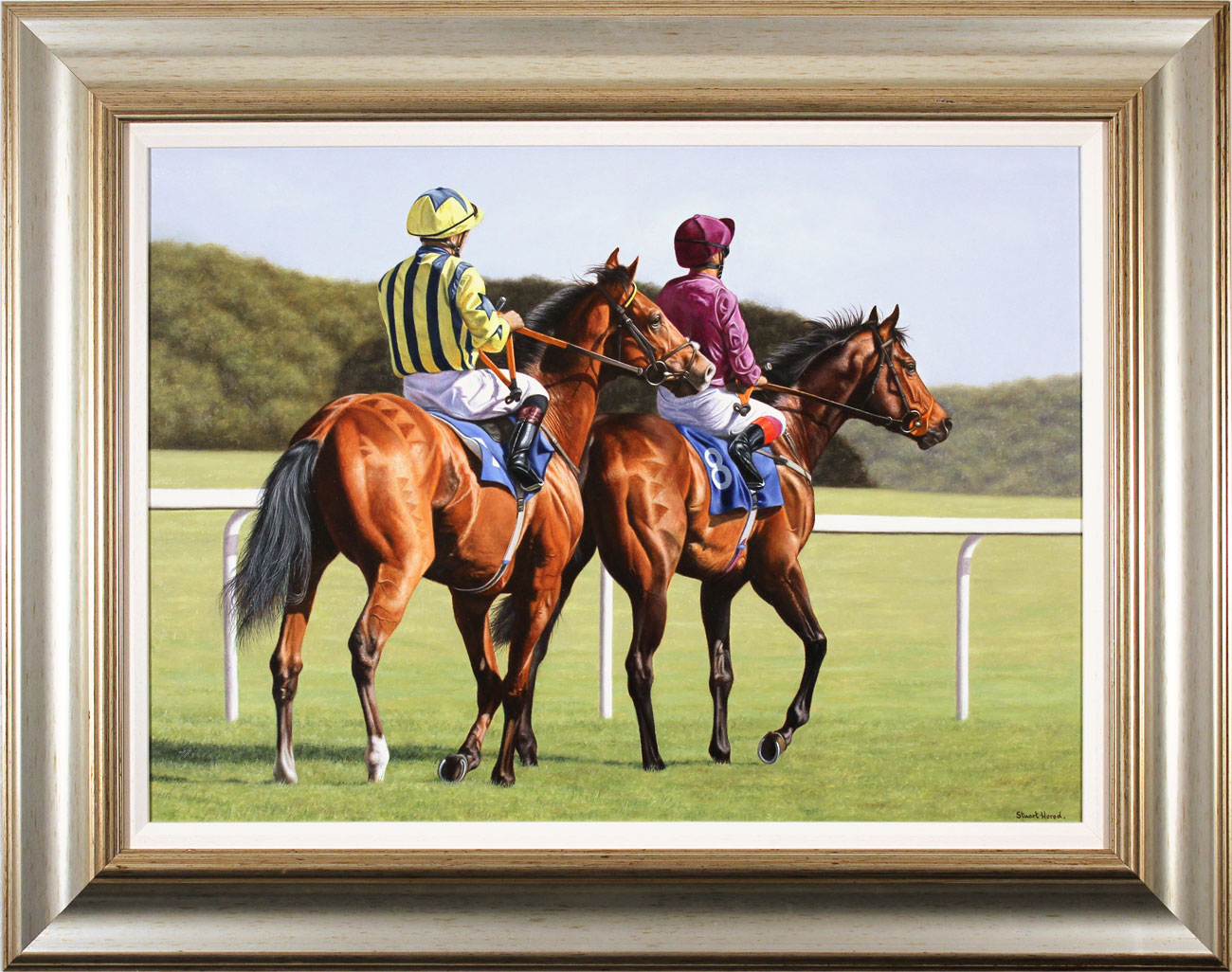 Stuart Herod, Original oil painting on canvas, Off to the Starting Gate. Click to enlarge
