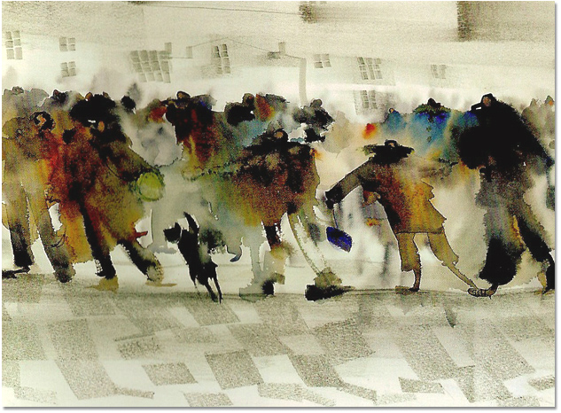 Sue Howells, Signed limited edition print, Standing Out From The Crowd, click to enlarge