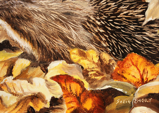 Suzie Emery, Original acrylic painting on board, Hedgehog
